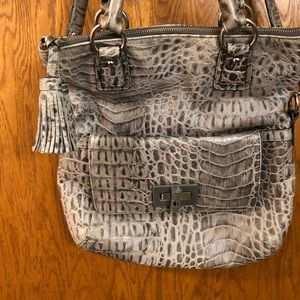 Talbots grey alligator print purse